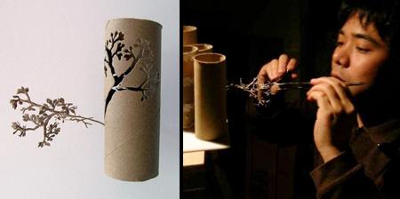 Деревья из туалетной бумаги...